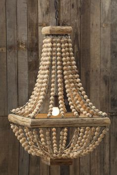 Rustic Square Base Wooden Beaded Chandelier
