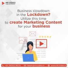 Business slowdown in the Lockdown? Utilize this time to create Marketing Content for your Business. - Contact us for your Marketing Videos at hasan - Whiteboard Video, Whiteboard Animation, Marketing Videos, Social Media Marketing Agency, Just Saying Hi, Video Team, Script Writing, Deep Thinking, Business Contact