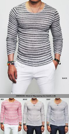 Tops :: Knits :: Breathable Summer Must Slim See-through Stripe-Knit 57 - Mens Fashion Clothing For An Attractive Guy Look