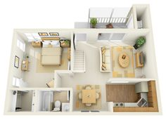 1B 1st Floor Townhome - 3D Floor Plan | by PCMG Apartments