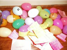 review questions easter egg hunt. Put a question in each egg for the kids to answer