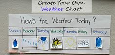 Create Your Own Classroom Weather Chart or homeschooling students. These DIY Weather Charts are perfect for preschoolers and homeschooling. Preschool Weather Chart, Weather Charts, Preschool Calendar, Calendar Activities, Back To School Activities, Science Activities, Free Printable Chore Charts, Create A Chart, Reward Chart Kids