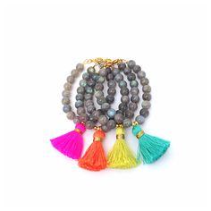Labradorite Luxury Tassel Bracelet with Golden by LovesAffect, $26.00