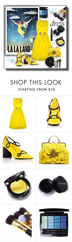 """La La Land Yellow Dress"" by sabine-713 ❤ liked on Polyvore featuring N°21, Fabrizio Viti, Chanel, Christian Dior and MAC Cosmetics"