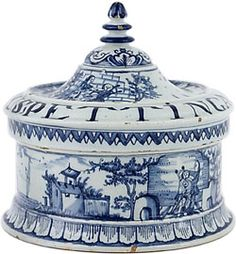 ♥ ~ ♥ Blue and White ♥ ~ ♥ Delft Blue Tobacco Box - Antique Ceramics & Delft Blue (Dutch Delftware) Blue And White China, Blue China, Love Blue, Delft, Chinoiserie, Royal Doulton, Art Chinois, Blue Onion, Vases