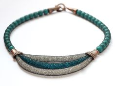 Turquoise short necklace Mesh Tube Necklace Seed beads necklace Chunky necklace Multi strand necklace Mesh jewelry Gift for girlfriend - pinned by pin4etsy.com