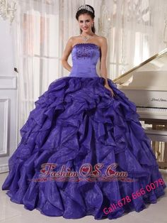 Low Prince Purple Quinceanera Dress Strapless Satin and Organza Beading Ball Gown