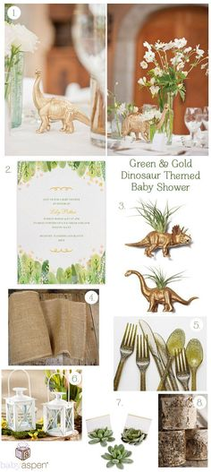Baby Shower Inspiration: Green & Gold Dinosaur Shower We've dreamed up a sophisticated baby shower with dinosaur details and a gold and green color palette. Shower the mom-to-be in style with this modern baby shower theme featuring elegant glittery decor, Mesas Para Baby Shower, Baby Shower Table, Baby Shower Themes, Shower Ideas, Gold Baby Showers, Elephant Baby Showers, Dinosaur Baby Showers, Sophisticated Baby Shower, Baby Shower Flowers
