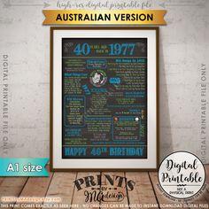 40th Birthday Gift 1977 Poster AUSTRALIA 40 Years Flashback