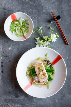Sesame trout with asian broth