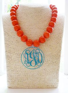 Monogram necklace with oversized beads and acrylic monogram disk by ArentYouCute, $25.  So many different color combinations are available!