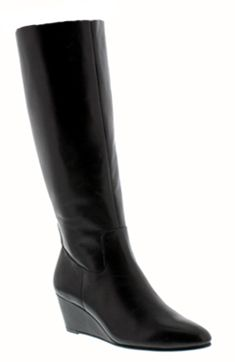 Rose Petals Summer2 Extra Wide Calf Wedge Boot (Black) - I really want these!!