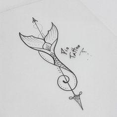 Mermaid tail tattoo - Famous Last Words Bild Tattoos, Body Art Tattoos, Tattoo Drawings, Sleeve Tattoos, Gun Tattoos, Tattoo Girls, Tattoo For Baby Girl, Tattoo Baby, Inspiration Tattoos