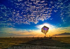 Groovik's Cube at Sunrise, Burning Man 2009: A totally functional Rubik's Cube the size of a house, controlled by three workstations / Black Rock City (Burning Man), Nevada, USA