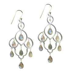 A Stunning pair of Chandelier Earrings. These lovely Silver and earrings are set with 7 faceted Labradorite stones. The Layla earrings are great for day or evening, and will add a touch of glamour to any outfit.  Total length: 6.5cm.   All our Jewellery comes gift wrapped in our SuShilla Jewellery box and tied with pretty ribbon. Your order will be dispatched within 2 working days.  View more jewellery from the Layla collection.
