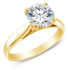 Solid 14k Yellow Gold Round Solitaire 1.0 ct man made Diamond Engagement Ring