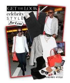 """""""Get the Look: Celebrity Airport Style: Lupita Nyong'o"""" by shortyluv718 ❤ liked on Polyvore featuring Miu Miu, Henleys, H&M, Madewell, FOSSIL, ALDO, Dasein, GUESS and celebairportstyle"""