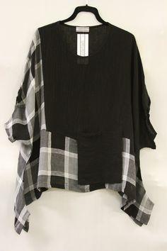 Transparente Designs Artsy Lagenlook Linen Gauze Pocket Tunic Black Plaid $245 | eBay