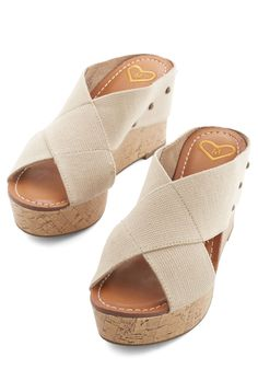 Laguna Beach Lovely Wedge. Whether on the coastline or cruisin around town, these platform wedges will maintain a beachy-chic and beautiful look! #tan #modcloth