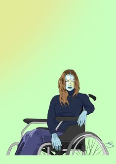 Quatrième création d'une série de 10 Représente une femme bleu en Fauteuil roulant.