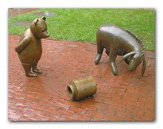 Book: Winnie-the-Pooh - Location: Newton Free Library of Newton, MA - Sculptor: Nancy Schön Books Art, Cool Books, 100 Acre Wood, Hundred Acre Woods, The Donkey, Children's Literature, Public Art, Street Art, Free Library