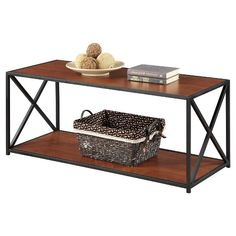 Use this Tucson Console Table from Convenience Concepts for a unique accent piece in your home. The steel frame holds up an upper and lower shelf. This accent table can be used for displaying your favorite pictures, succulents and more or use it for your gaming console, DVD player and entertainment system.