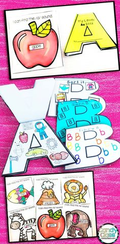What a fun way to teach the alphabet! These alphabet shaped books turn letter recognition, handwriting, and beginning sound activities into arts and crafts! This flip book can be used in an interactive notebook or stand solo! Includes find the letter printable too! No prep too! Find lots of other ideas for teaching the alphabet at this post too!