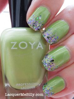 soft apple green with glittery tips
