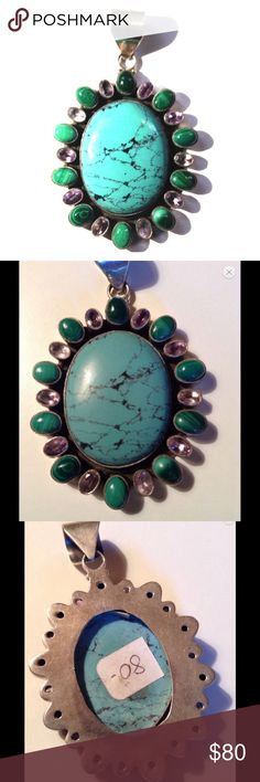 """3"""" Turquoise/Sterling Silver Pendant Handcrafted pendant; 3"""" from bale to tip; turquoise center stone surrounded by malachite and amethyst set in sterling silver; 39g weight. Jewelry"""