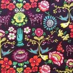 1m Las Golondrinas Eggplant Multi - Alexander Henry Fabric PER METRE Swallow Goa in Crafts, Sewing & Fabric, Fabric | eBay