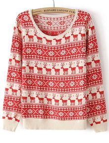 Red Long Sleeve Deer Pattern Knit Sweater