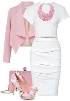 Cute pink/white outfit for professional wear