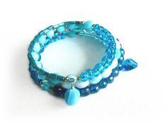 Turquoise Beaded Bracelet SALE 50 Off   Blue by Lottieoflondon, £5.50