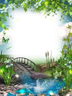 Transparent Photo Frame with Bridge and River -at this site there are over beautiful frames and much more all free - go to home and then browse the galleries Boarder Designs, Page Borders Design, Studio Background Images, Frame Background, Photo Backgrounds, Wallpaper Backgrounds, Wallpapers, Image Transparent, Boarders And Frames