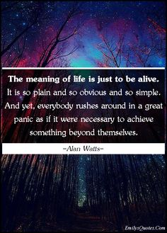 The meaning of life is just to be alive. It is so plain and so obvious and so simple. And yet, everybody rushes around in a great panic as if it were necessary to achieve something beyond themselves