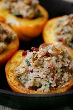 Quinoa-stuffed acorn squash Good idea for a vegetarian entree at Thanksgiving