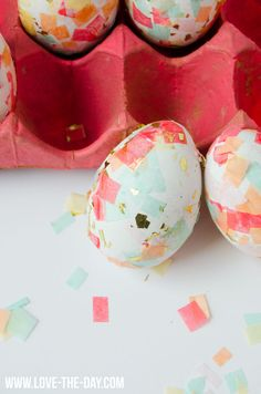 Confetti Eggs for Easter. Pretty idea! Especially with the bits of gold in there!