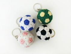 "Crochet Pattern for Beginners ""Soccer Ball"" - Amigurumi Crochet Keychain, Crochet Bookmarks, Crochet Hooks, Crochet Patterns For Beginners, Knitting For Beginners, Crochet Ball, Knit Crochet, Knitting Blogs, Knitting Ideas"
