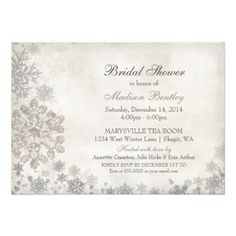 snowflake winter bridal shower cream charcoal invitation