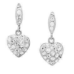 Sterling Silver Crystal Heart Dangle Earrings made with Swarovski Elements >>> Don't get left behind, see this great  product : Jewelry Earrings