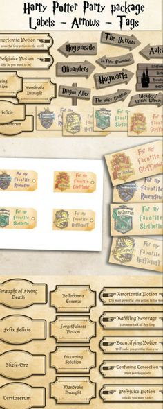 Harry Potter printables party package Harry Potter party decorations Instant download party décor harry potter tags harry potter labels #Harrypotter #birthdayparty #themedparty #affiliate
