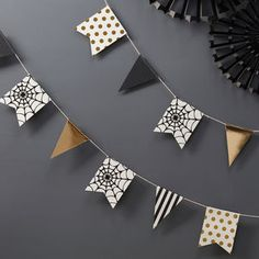 Gold Foiled Halloween Bunting Decoration - baby's room