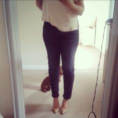 Slim fit dark jeans | nude court shoes | little dog |