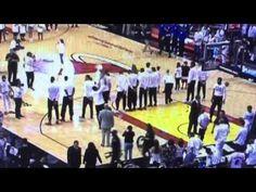 Dwyane Wade shooting practice during Canadian national anthem