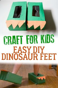 DIY Dinosaur Feet with this simple easy to make craft for toddlers from tissue paper boxes. Fun make and do ideal for play.