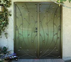 Vine & Leaf wrought iron security screen double door