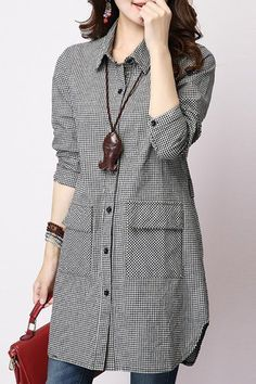 Casual Long Sleeve Shirt Collar Plaid Loose-Fitting Women's Shirt