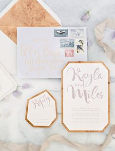 Modern lavender and copper wedding invitations / http://www.deerpearlflowers.com/bronze-copper-wedding-color-ideas/