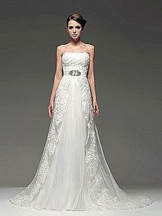 Absolutely love this dress  Strapless Tulle Mermaid Bridal Gown with Satin Sash - USD $219.00