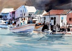 Carl Purcell Shirley Trevena, Lynn Williams, Sky Art, West Lake, Fishing Villages, Watercolor Paintings, Watercolors, Sailing, Colours